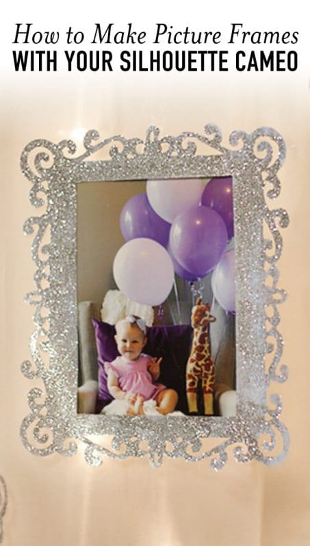 Picture frame reflecting little girl with balloons image.