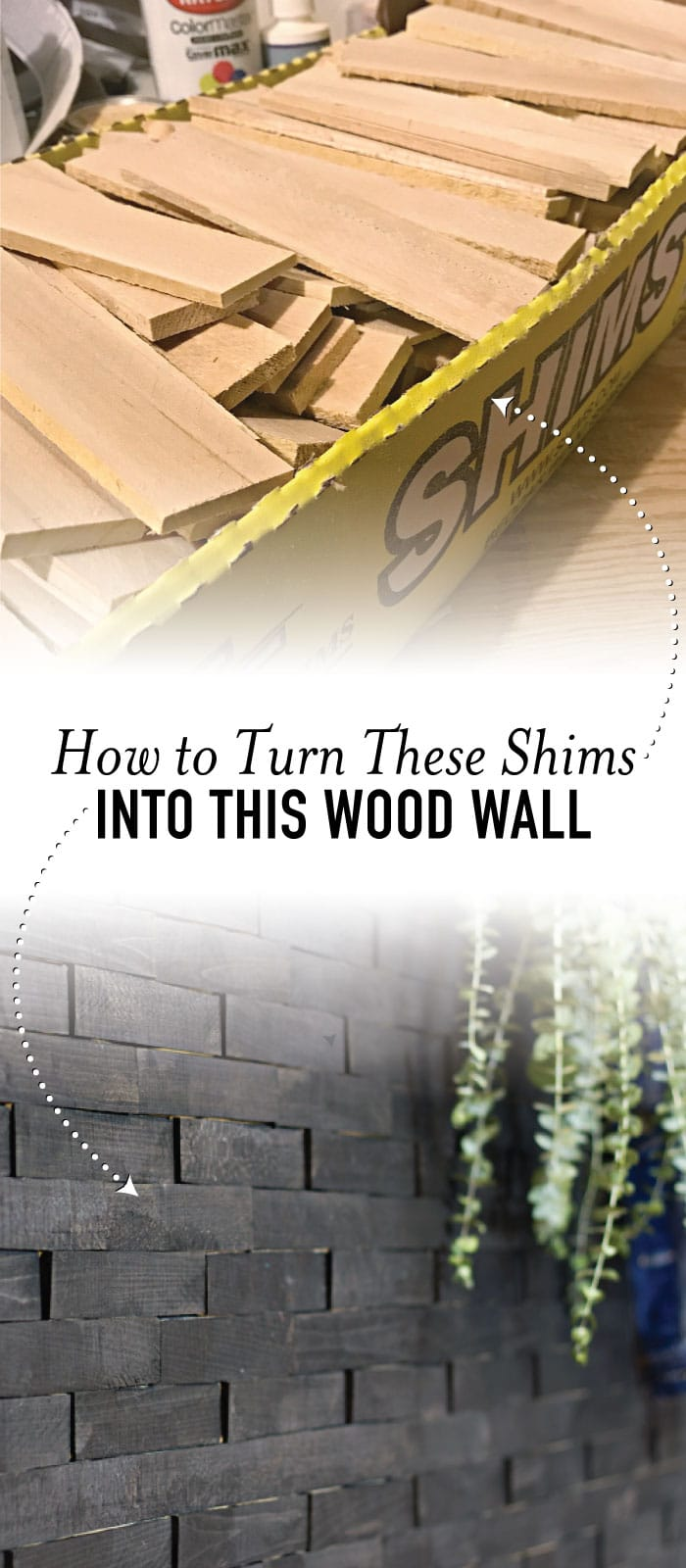 Make an impact with this dramatic wood shims wall project. This tutorial shows you exactly how to make it with tips on how to save time and money. This is perfect to add in your home entry. #homedecor #DIY