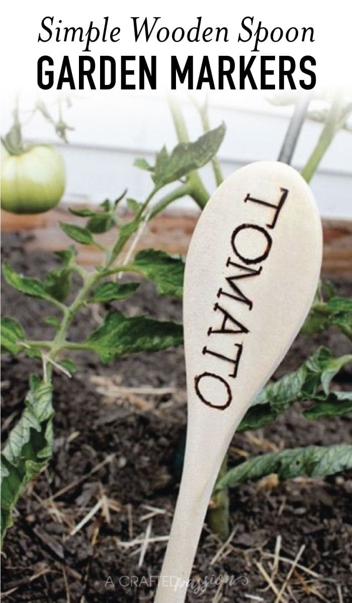 Use cheap wooden spoons from the Dollar Tree to make these simple wooden spoon garden markers with a wood burning pen. #easy #DIYproject #garden