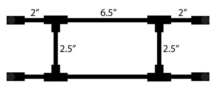 Pipe shelf dimensions