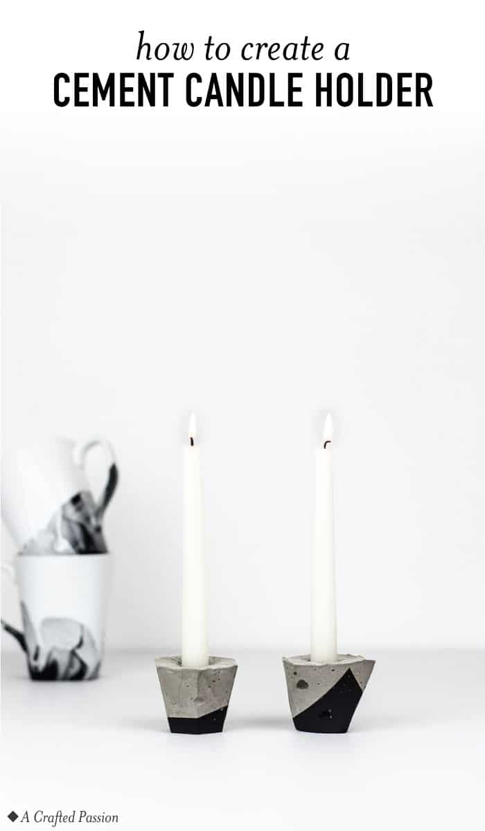 Learn how to make a geometric cement candle holder with this simple tutorial! This easy DIY project looks so great and is perfect to modernize taper candles. #diy #tablescape #modern