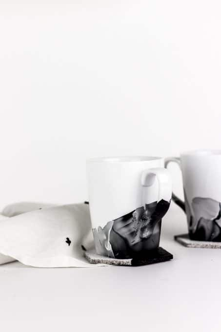 Image of marble mugs on cork coasters