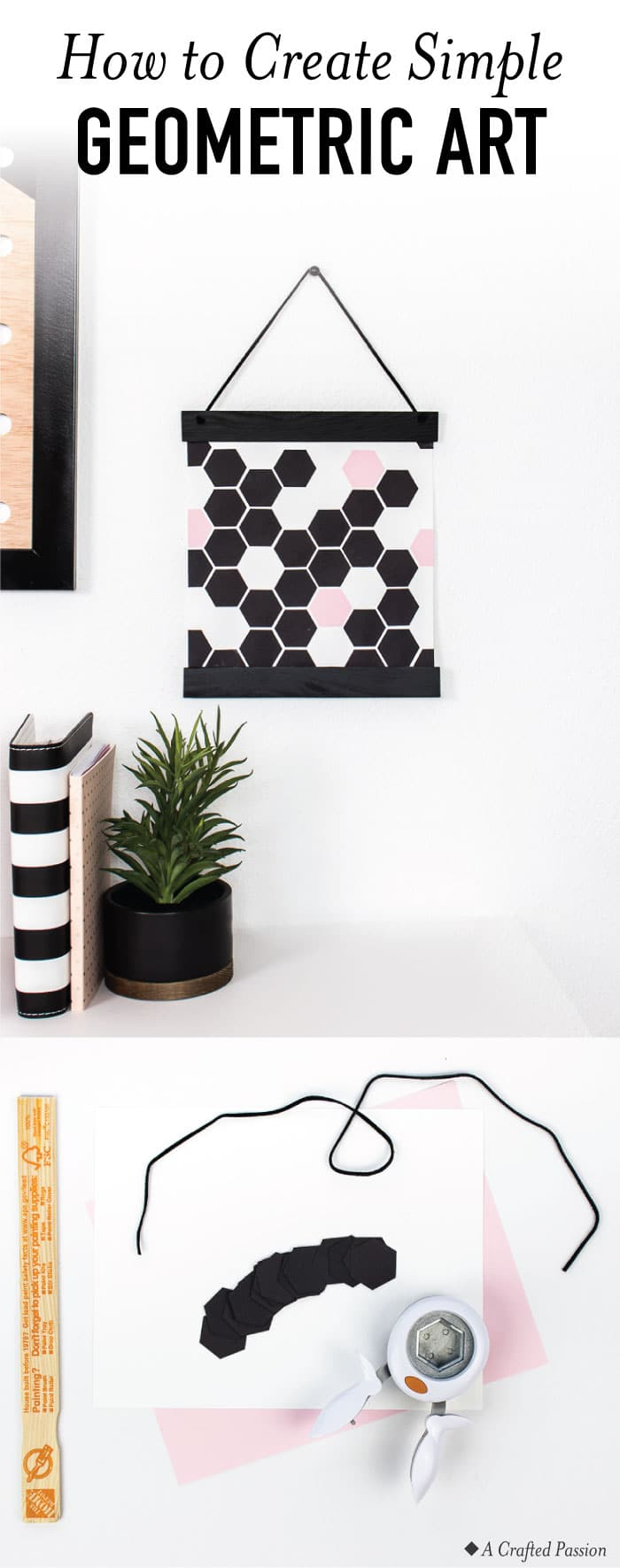 Make this easy geometric art to hang in your modern home. It's so simple and can be finished in under an hour PLUS it looks great! #art #diyart #diy #modernhome