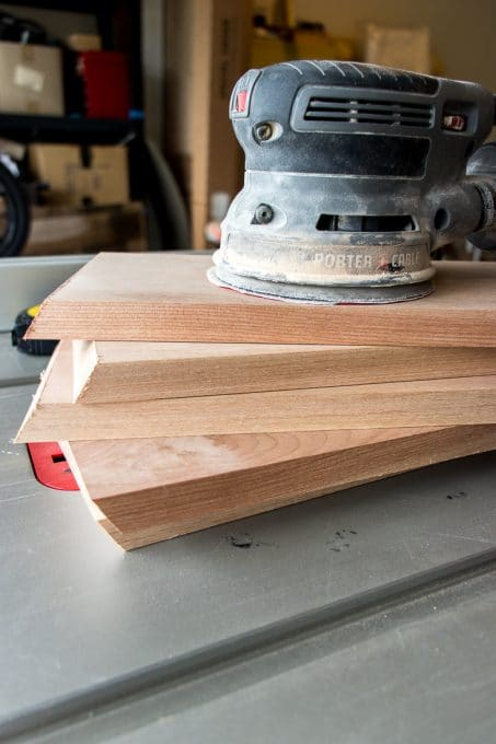 Image of simple hexagon shelf sanding