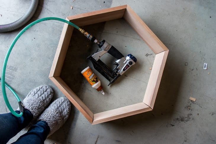 Image of simple hexagon shelf supplies