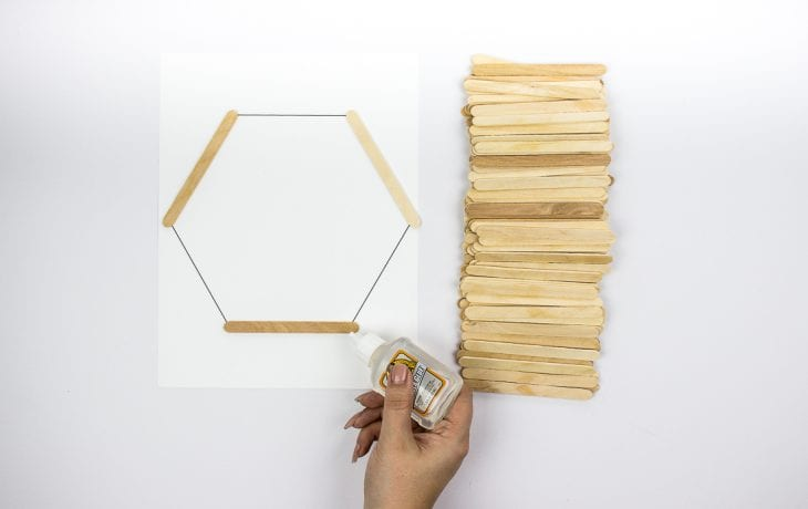 Image of gluing hexagon shelves