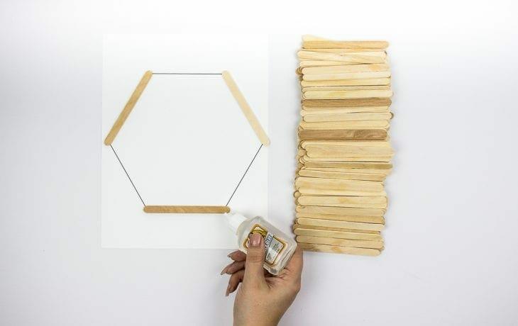 Image of gluing hexagon shelves