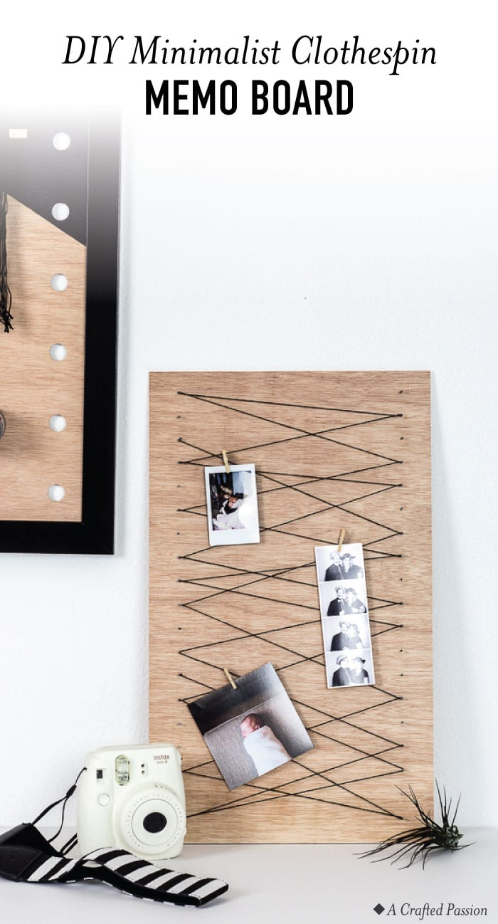 Create a simple clothespin memo board to keep important notes or display your favorite pictures with this easy DIY idea. #diy #office #organize
