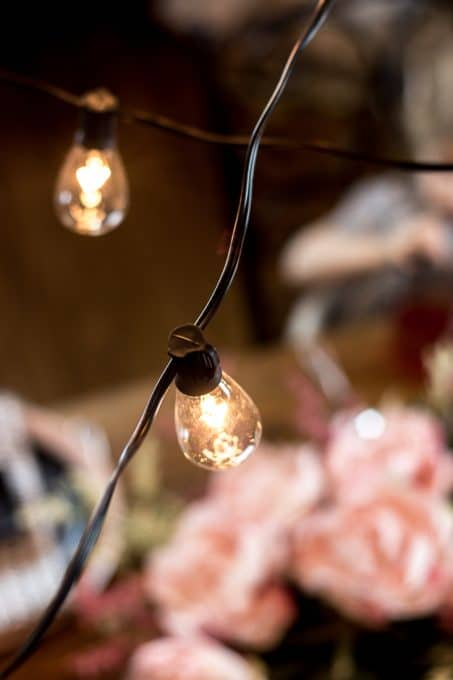 Image of Valentine's dinner Edison bulb string lights