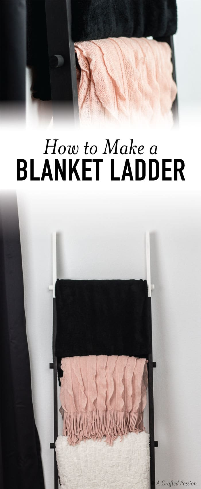 CHECK OUT this simple tutorial on how to make a wood blanket ladder. It looks great in your living room, bedroom, or even bathroom to hold towels. LOVE!! #diy #wood #furniture #blanketladder