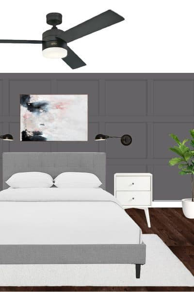 Create a relaxing master bedroom with this monochrome bedroom mood board!