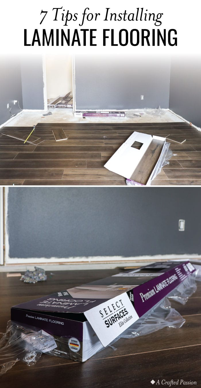 Don't let installing flooring intimidate you! Check out these 7 tips for installing laminate flooring and an update on week three progress on our One Room Challenge master bedroom makeover. #homedecor #homeimprovement #diy