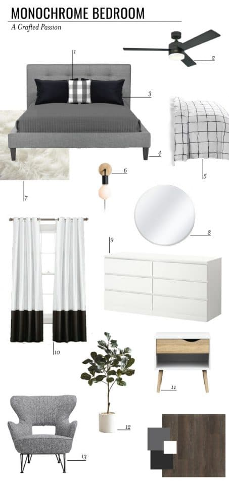 Image of monochrome bedroom mood board