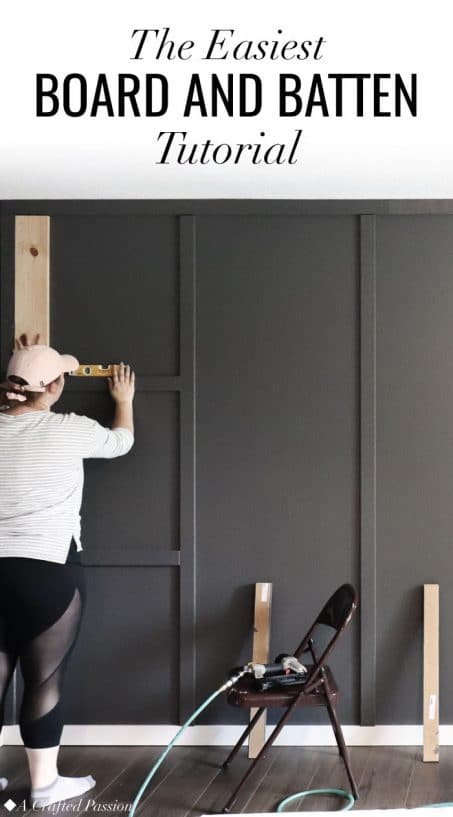 Make a feature wall in your bedroom with this simple DIY board and batten tutorial. #diy #homeimprovement #homerenovation
