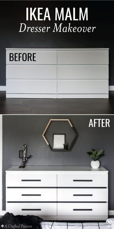 Before After Ikea Malm Dresser Makeover Hack