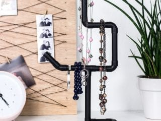 Industrial DIY Necklace Holder with Copper Pipes
