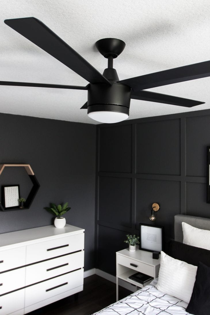 Matte black fan in modern bedroom
