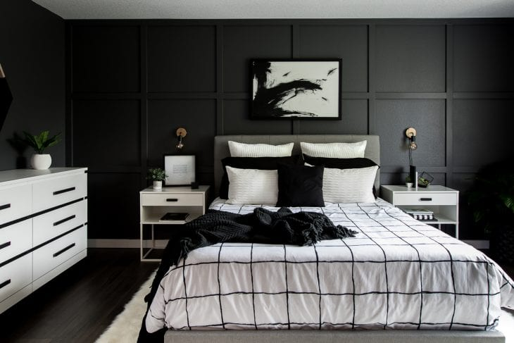 Image of monochrome master bedroom