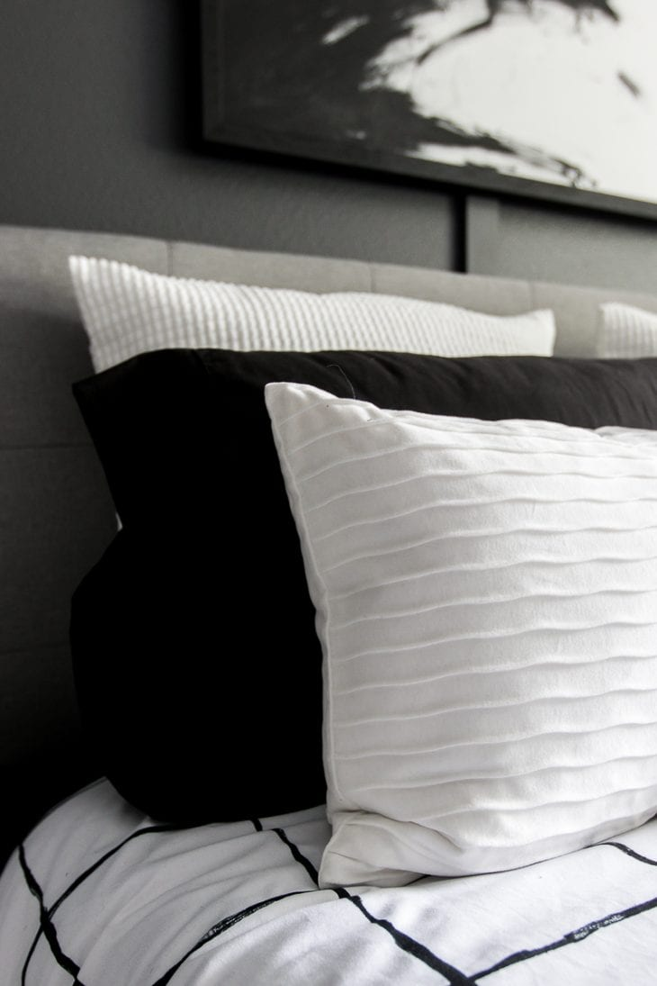 Pillows on modern bed