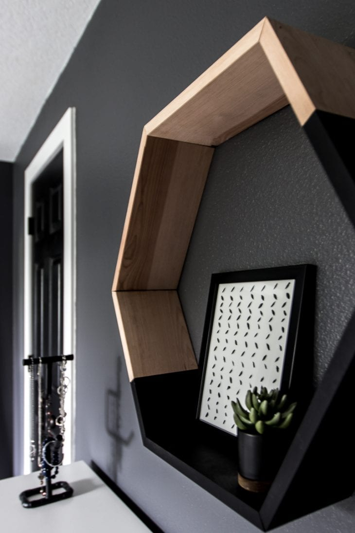 Hexagon shelf in modern bedroom