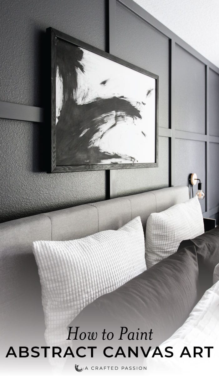 Learn how to DIY abstract canvas art with some black and white paint. This minimal look is perfect for your modern home! #modernhome #diyart #easycraft