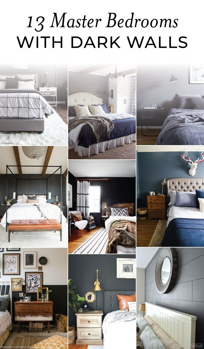 Check out these GORGEOUS master bedrooms with dark walls to inspire you that light isn't always better. These bedrooms with dark walls can fit any home style. #homedecor #homeimprovement