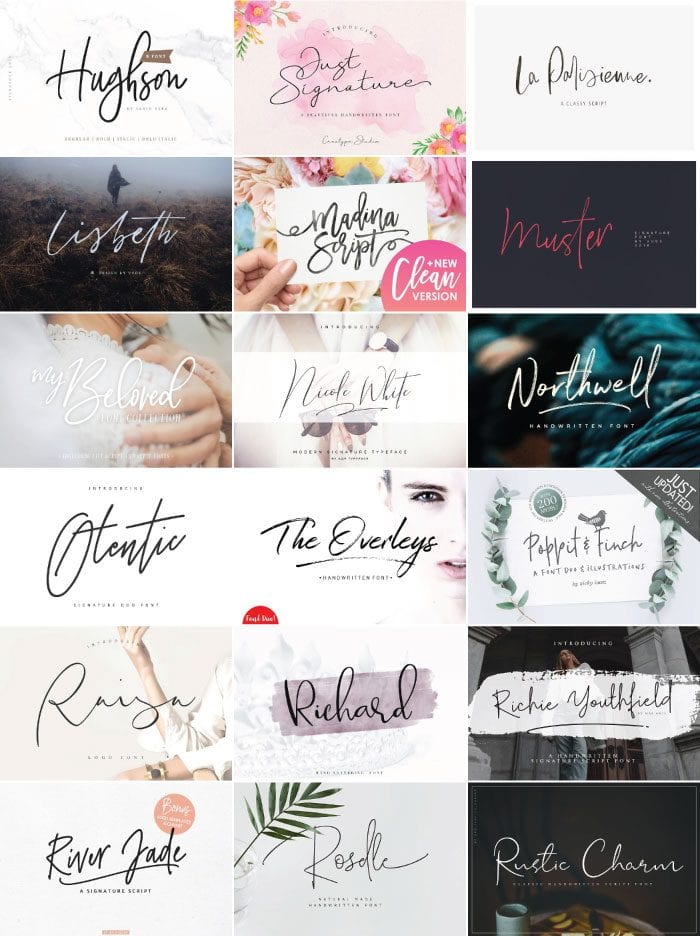 Image of modern script fonts from Creative Market