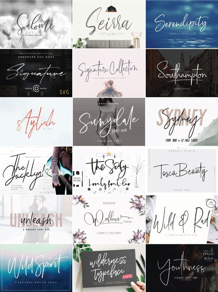 Creating invitations, designing posters, crafting a beautiful site...here are over 50 of the best modern script fonts you need in your font book! These cursive fonts include handlettered styles and modern calligraphy typefaces.