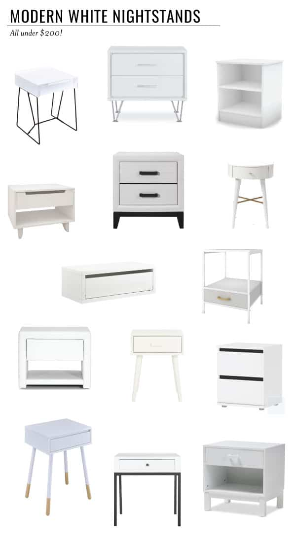 Find the best modern white nightstand for under $200 to put in your bedroom. You're sure to love at least a few of these affordable nightstands. #nightstand #modernhome #bedroom #furniture