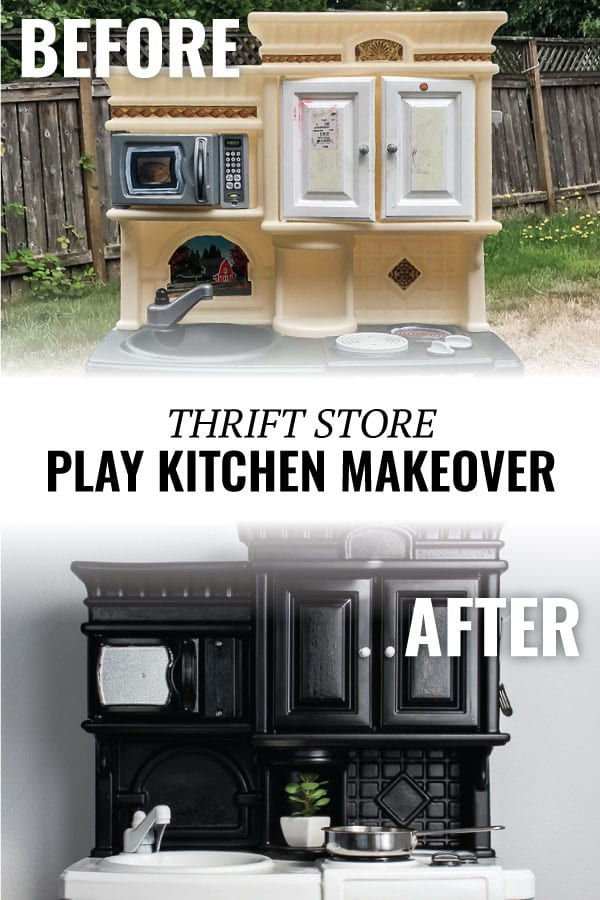 This play kitchen makeover is incredible! This plastic kitchen went from well-loved and worn down to a modern update. Check out the full before and after! #playkitchen #beforeafter #playroom