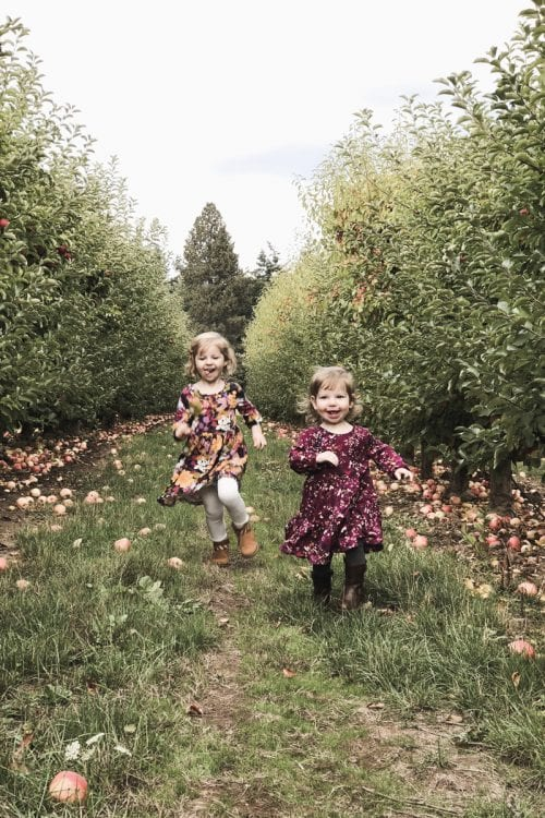 Image of kids running in apple orchard