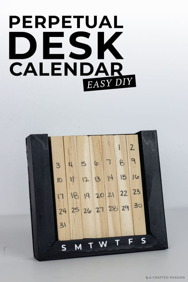 Learn how to make a perpetual desk calendar with this simple DIY tutorial using natural wood blocks. This handmade office decor is perfect to help you always know what day it is. #calendar #diyofficedecor #desk #deskcalendar
