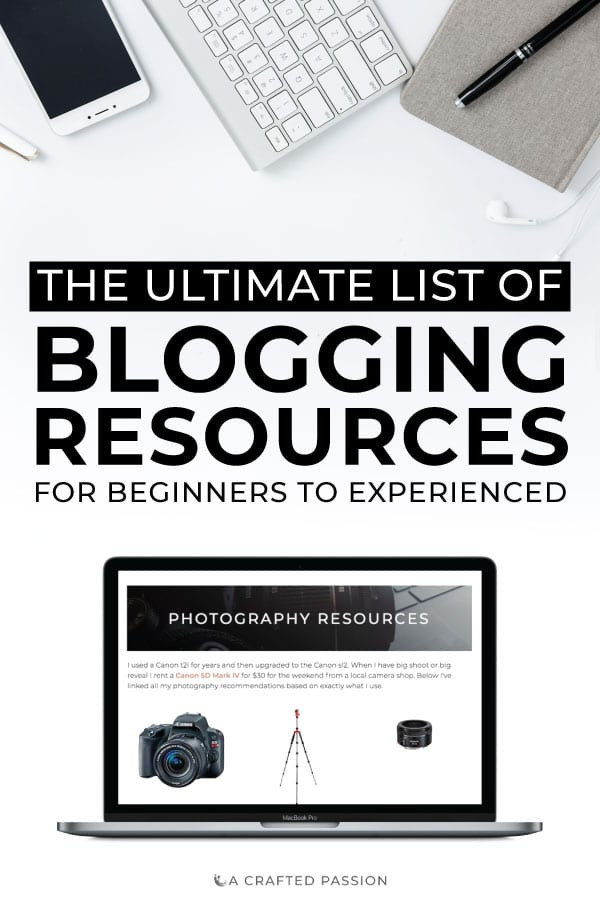Ready to start a blog or take your blog to the next level? Check out this comprehensive list of blogging resources including everything from host recommendations, photography resources, and ecourses you need. #blogging #blogger #diyblog