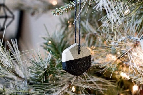 Image of cement homemade Christmas tree ornaments