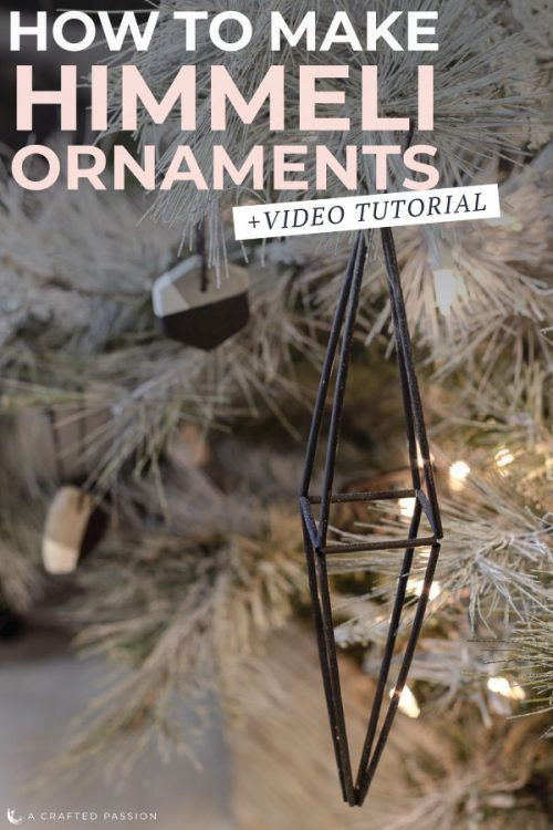 Learn how to make himmeli ornaments for your Christmas decor. These handmade Finnish-inspired Christmas tree ornaments are so easy and cheap to make, plus the geometric look adds a modern edge to your tree. #christmasornament #ornament #himmeli