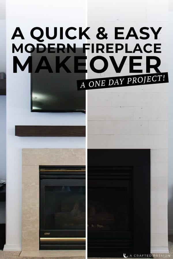 This quick & easy modern fireplace makeover is so great for just upgrading your fireplace facing and updating your whole space in less than a days work. Get all the details here! #homeimprovement #modernhome #fireplace #diyhome