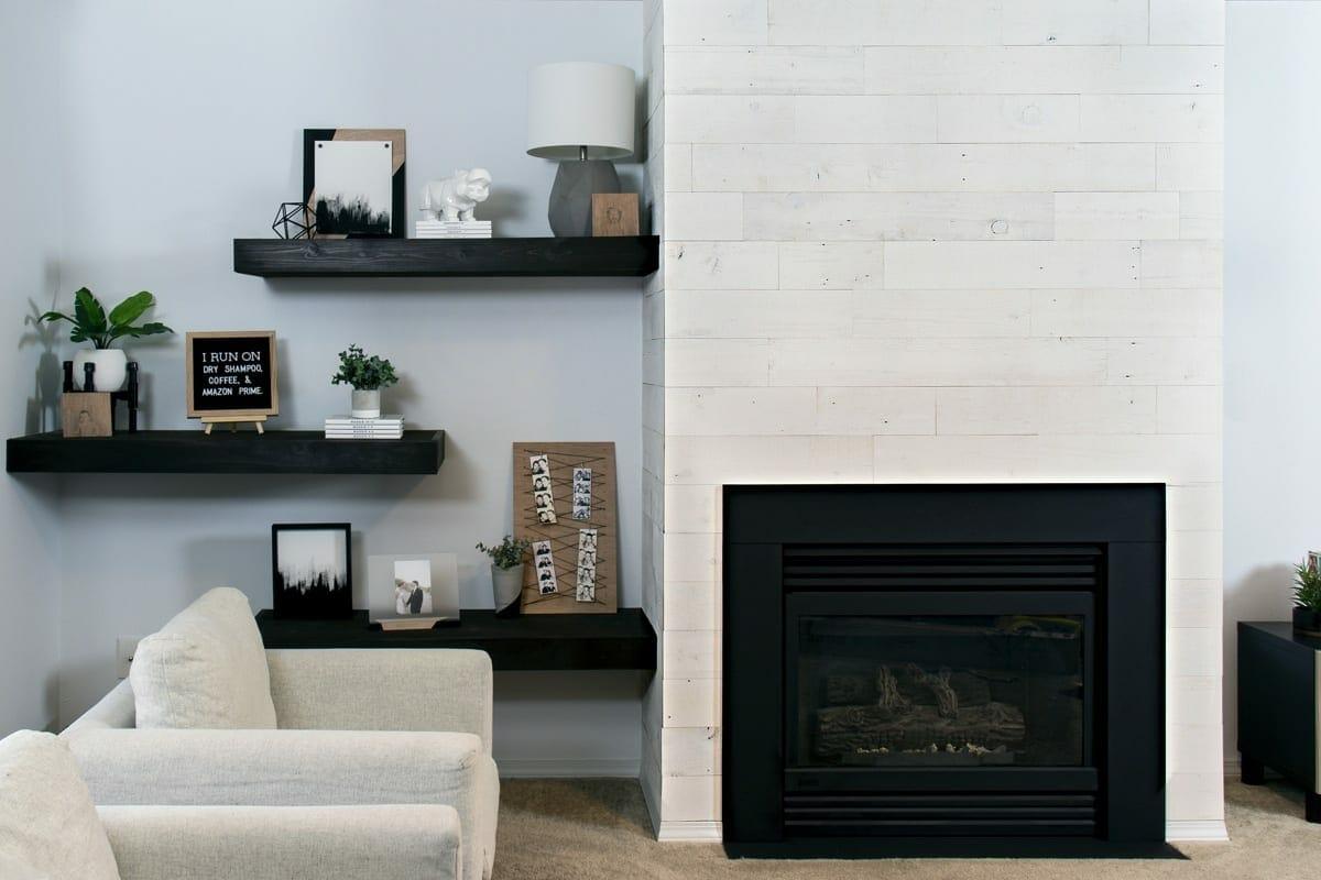 High Contrast Modern Fireplace Makeover