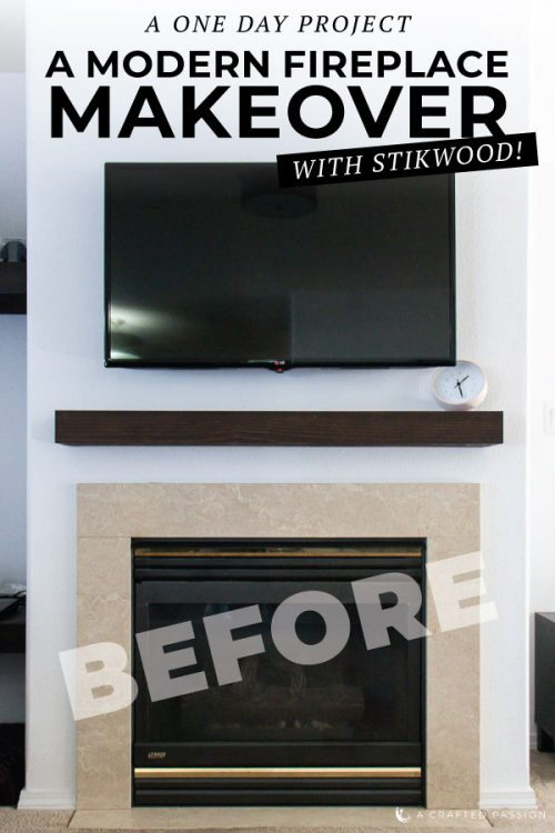 Ready to upgrade your fireplace? This modern fireplace makeover idea is perfect using peel and stick wood from Stikwood and some paint! #fireplacemakeover #modernfireplace