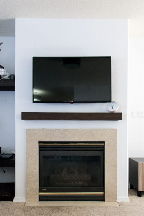 Image of boring marble fireplace