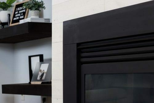 Image of black fireplace surround