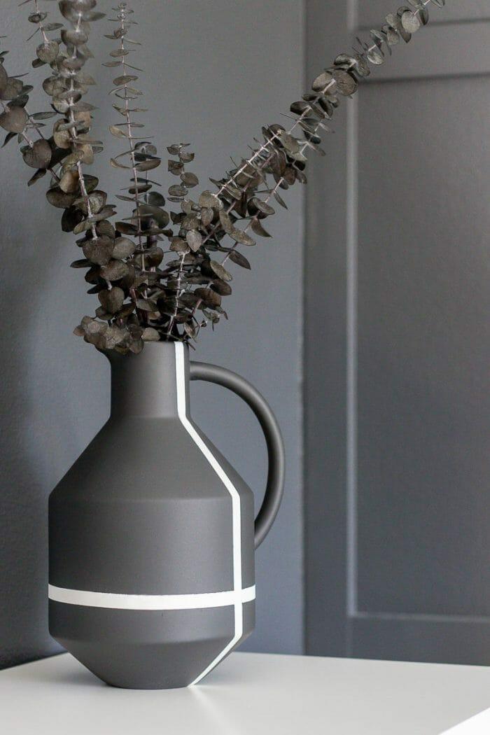 Image of stoneware jug makeover with eucalyptus