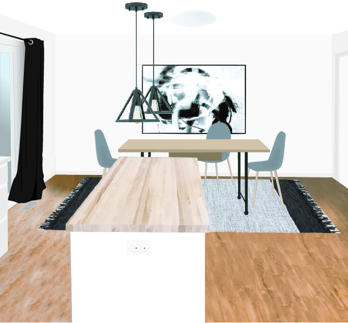 Render of modern dining room