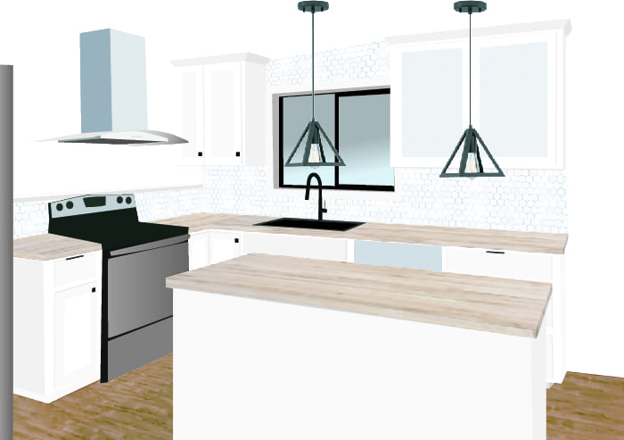 Render of modern white kitchen