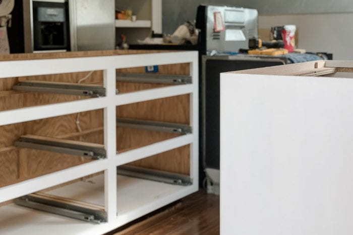 Image of white painted kitchen cabinets