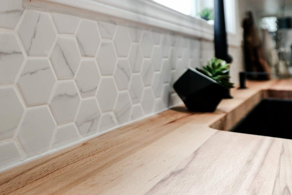 Image of hexagon tile backsplash